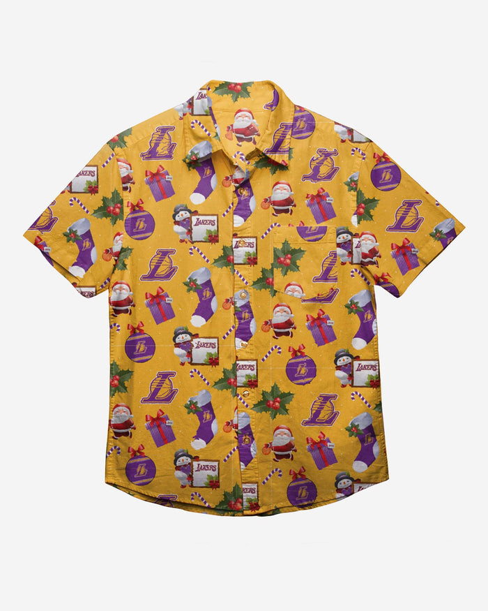 Los Angeles Lakers Christmas Explosion Button Up Shirt FOCO - FOCO.com