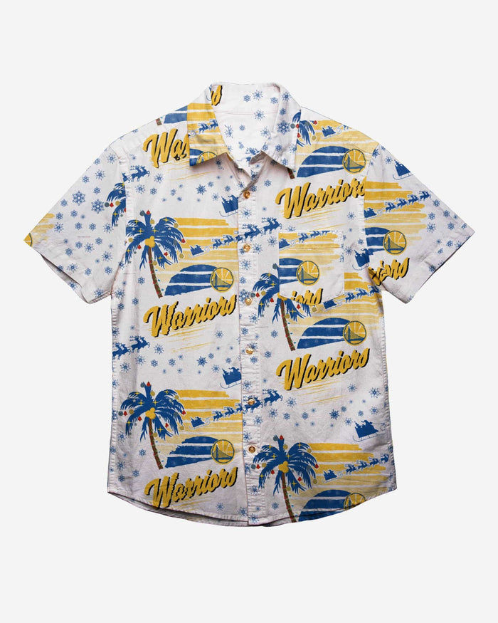 Golden State Warriors Winter Tropical Button Up Shirt FOCO - FOCO.com
