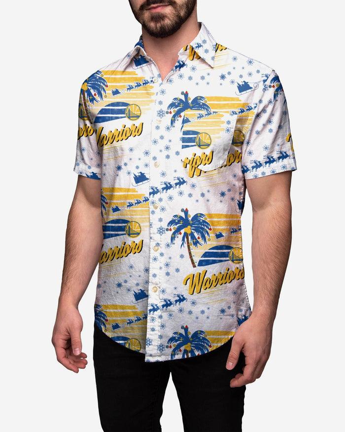 Golden State Warriors Winter Tropical Button Up Shirt FOCO 2XL - FOCO.com