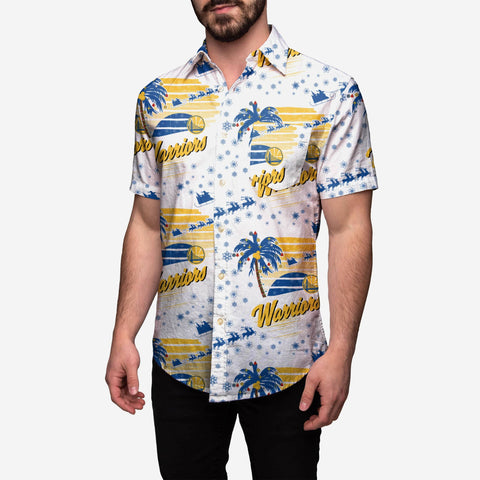 Golden State Warriors Winter Tropical Button Up Shirt