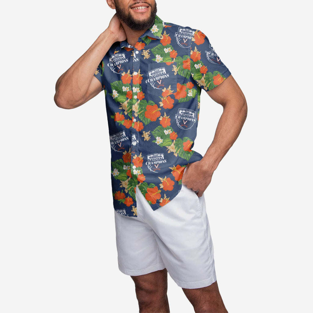 Virginia Cavaliers 2019 NCAA Mens Basketball National Champions Floral Button Up Shirt FOCO S - FOCO.com