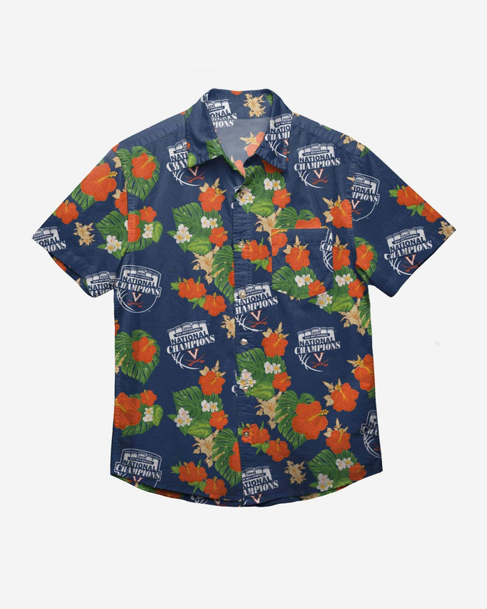 Virginia Cavaliers 2019 NCAA Mens Basketball National Champions Floral Button Up Shirt FOCO - FOCO.com