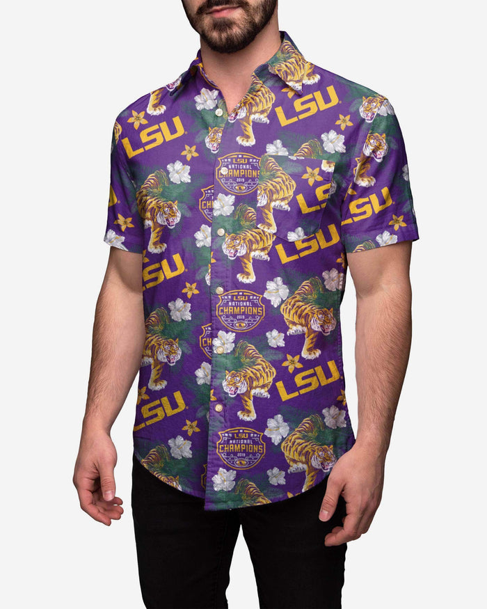 LSU Tigers 2019 Football National Champions Wildlife Button Up Shirt FOCO S - FOCO.com