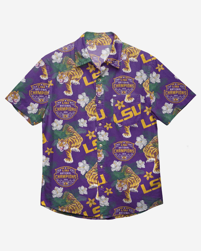 LSU Tigers 2019 Football National Champions Wildlife Button Up Shirt FOCO - FOCO.com