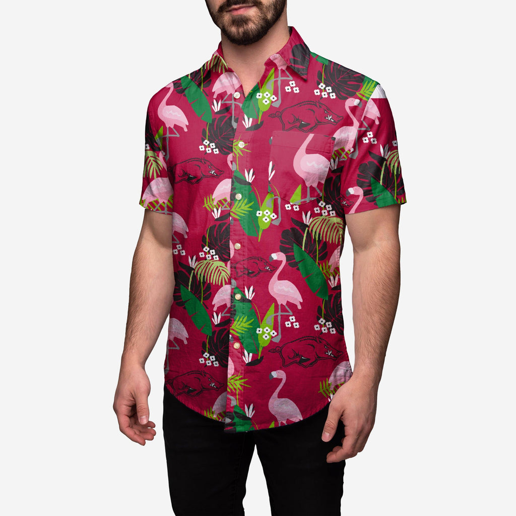Arkansas Razorbacks Floral Button Up Shirt FOCO - FOCO.com