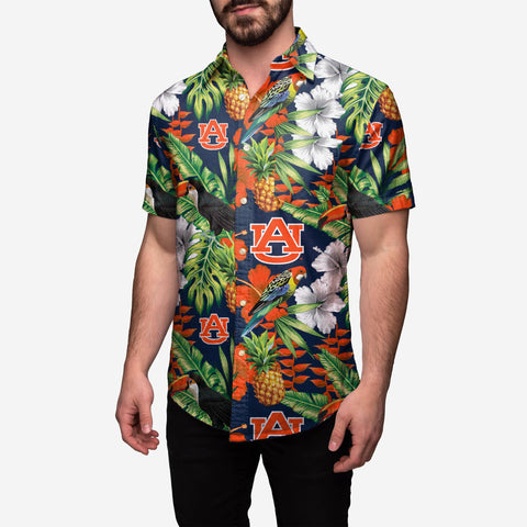 Auburn Tigers Floral Button Up Shirt