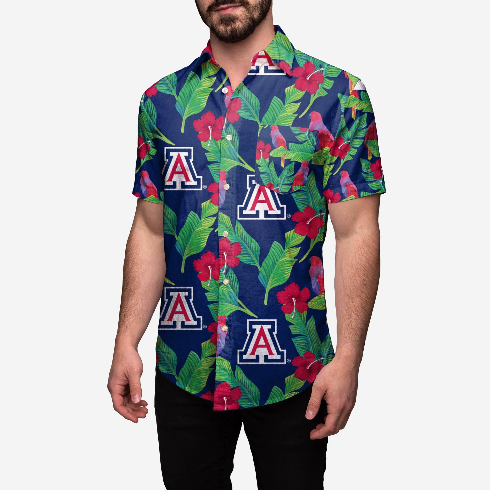 Arizona Wildcats Floral Button Up Shirt