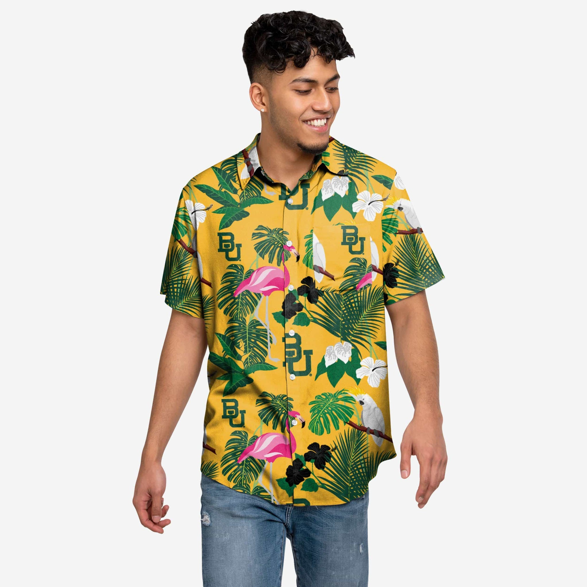 Baylor Bears Floral Button Up Shirt