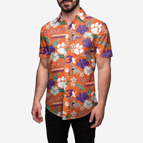 Clemson Tigers 2018 Football National Champions Floral Button Up Shirt