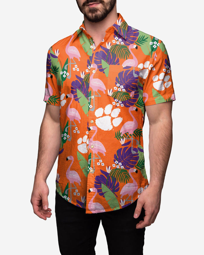 Clemson Tigers Floral Button Up Shirt FOCO 2XL - FOCO.com