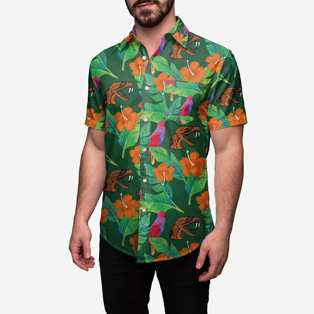 Florida A&M Rattlers Floral Button Up Shirt FOCO S - FOCO.com