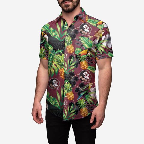 Florida State Seminoles Floral Button Up Shirt