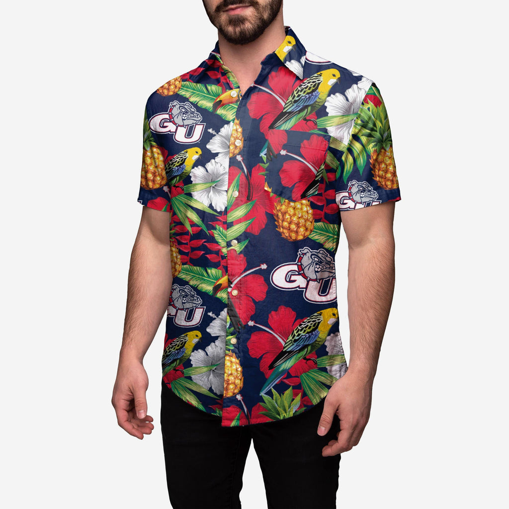 Gonzaga Bulldogs Floral Button Up Shirt FOCO 2XL - FOCO.com