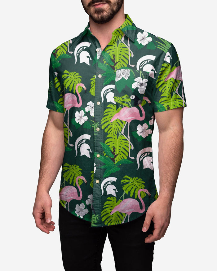 Michigan State Spartans Floral Button Up Shirt FOCO 2XL - FOCO.com
