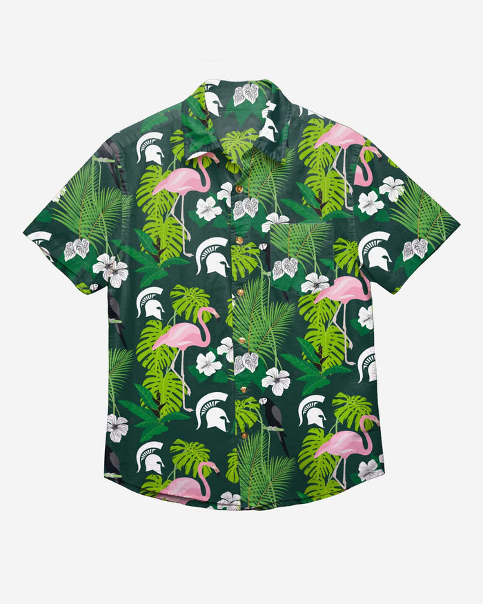Michigan State Spartans Floral Button Up Shirt FOCO - FOCO.com