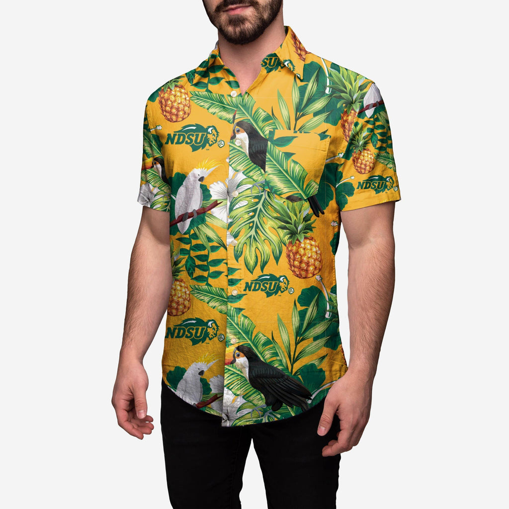 North Dakota State Bison Floral Button Up Shirt FOCO XL - FOCO.com