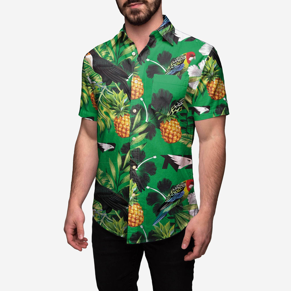 North Dakota Fighting Hawks Floral Button Up Shirt FOCO S - FOCO.com