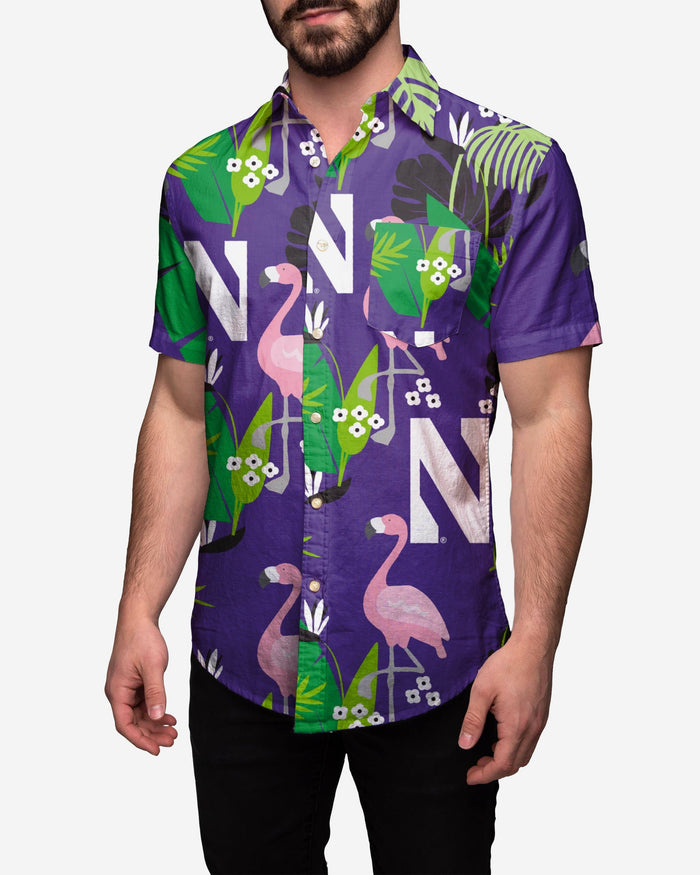 Northwestern Wildcats Floral Button Up Shirt FOCO 2XL - FOCO.com