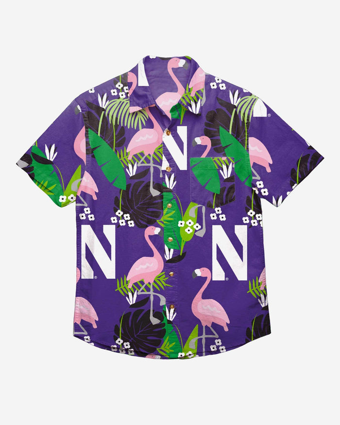 Northwestern Wildcats Floral Button Up Shirt FOCO - FOCO.com