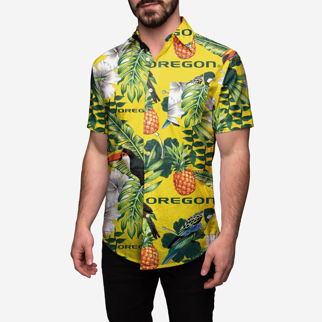 Oregon Ducks Floral Button Up Shirt FOCO 2XL - FOCO.com