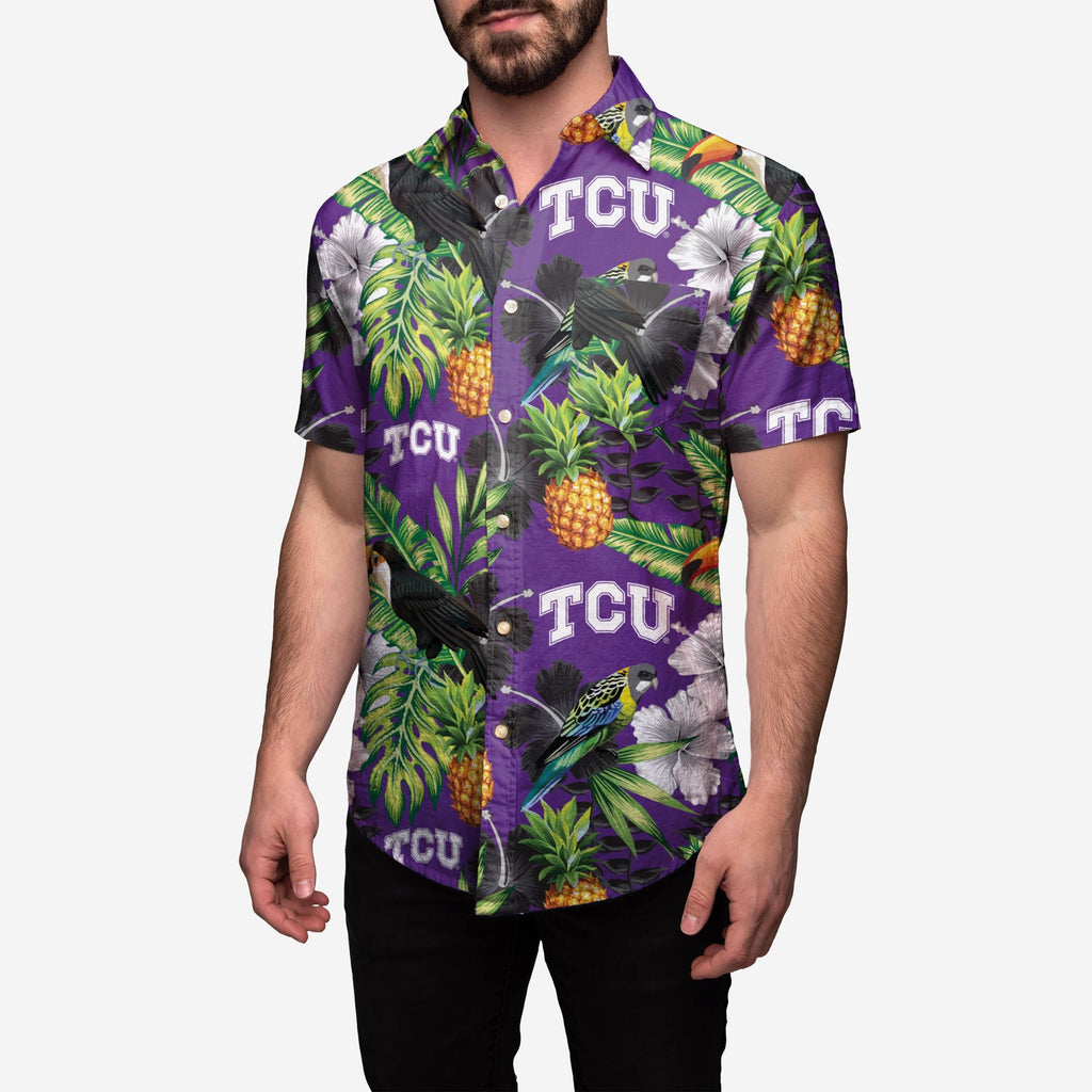 TCU Horned Frogs Floral Button Up Shirt FOCO 2XL - FOCO.com