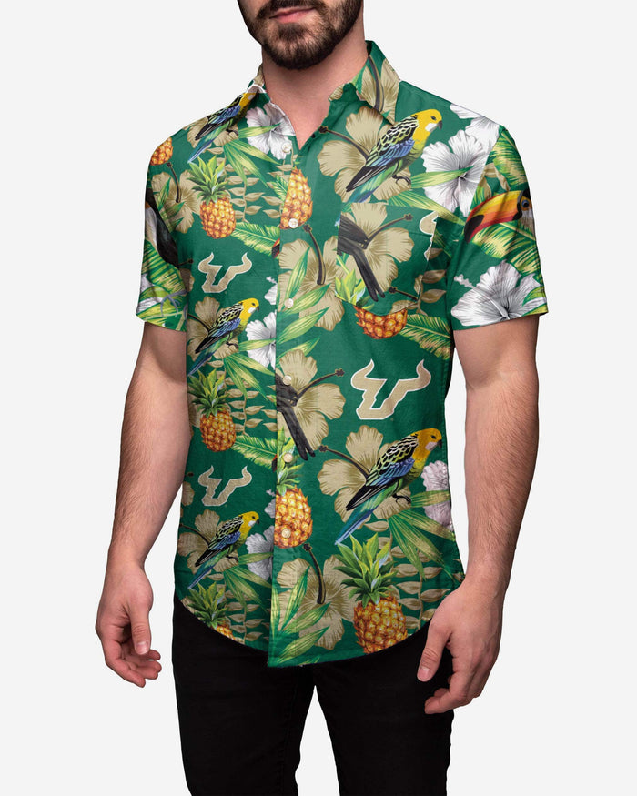 South Florida Bulls Floral Button Up Shirt FOCO 2XL - FOCO.com