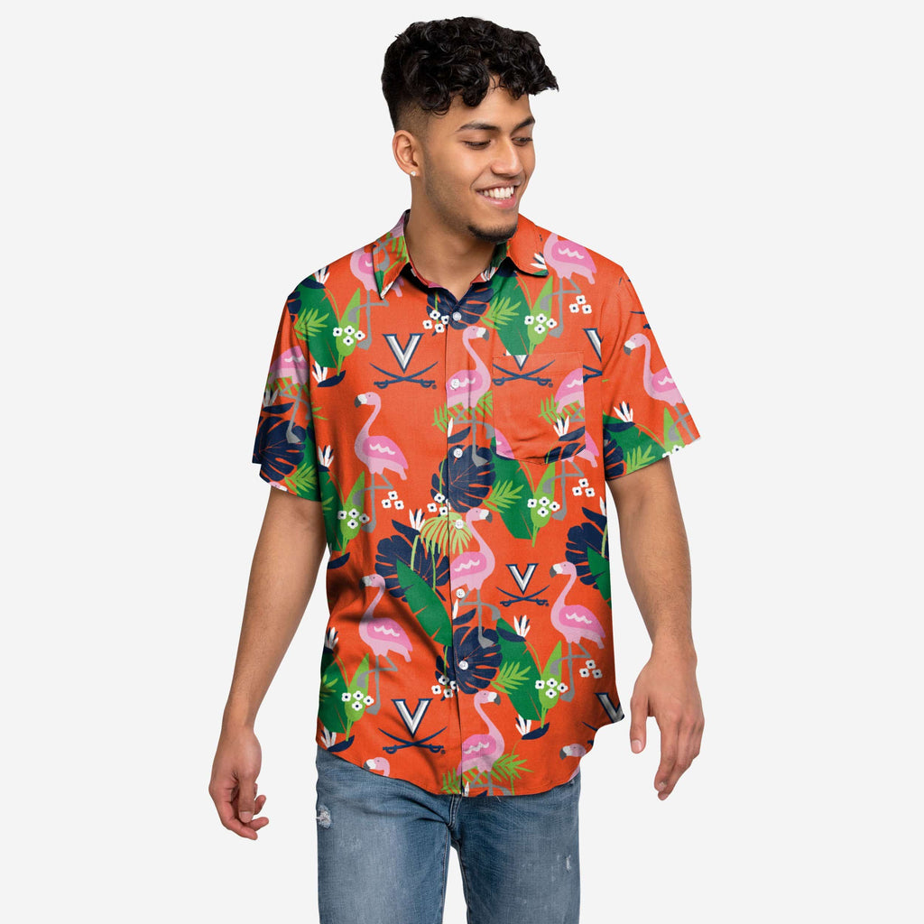 Virginia Cavaliers Floral Button Up Shirt