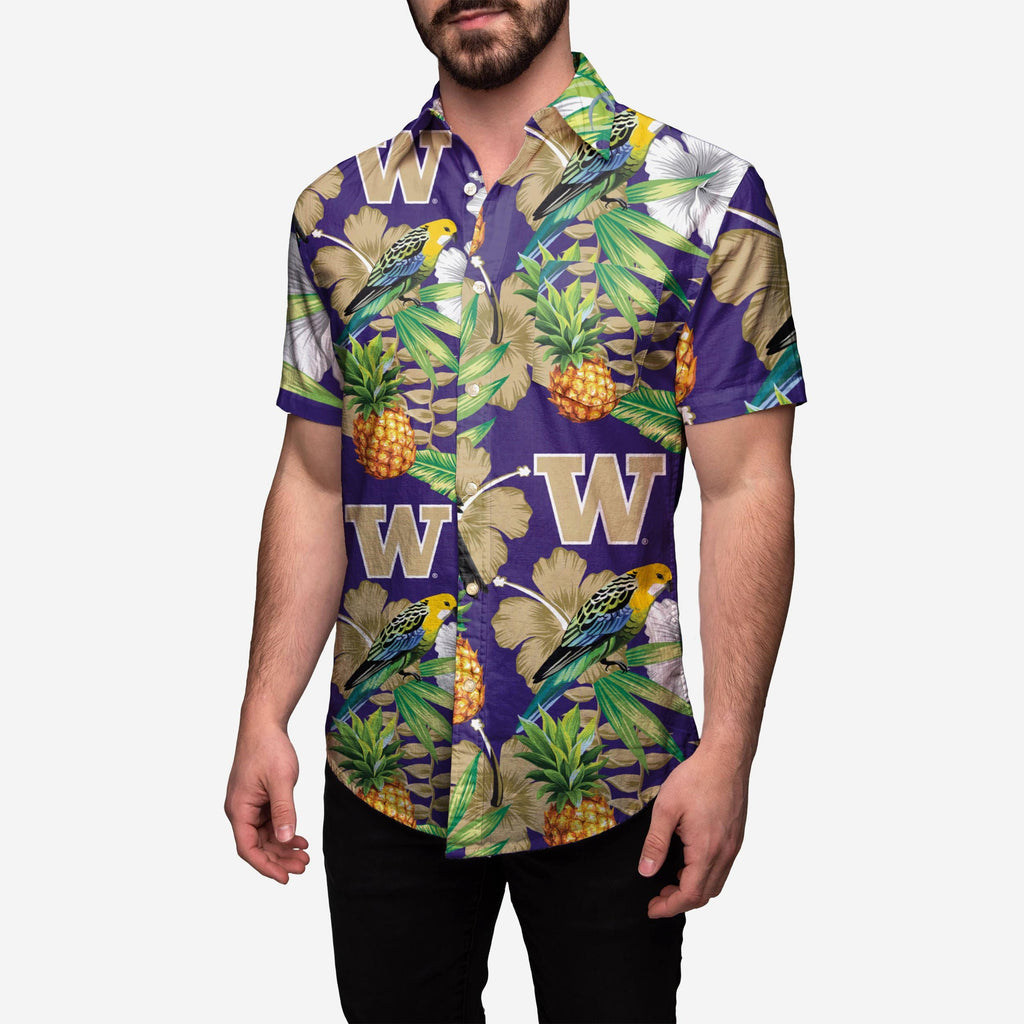 Washington Huskies Floral Button Up Shirt FOCO 2XL - FOCO.com