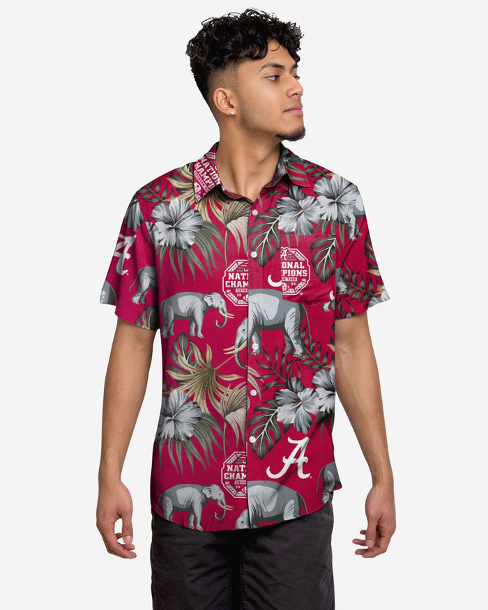 Alabama Crimson Tide 2020 Football National Champions Wildlife Button Up Shirt FOCO S - FOCO.com