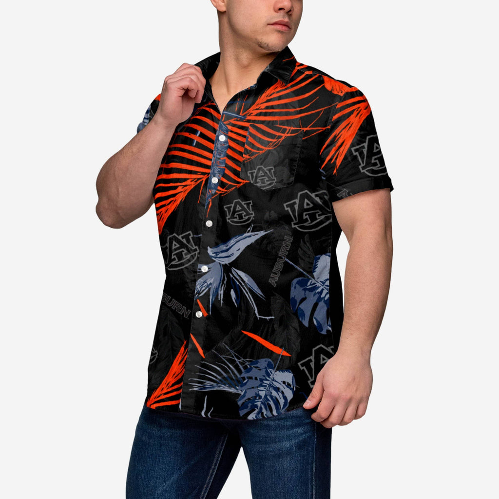 Auburn Tigers Neon Palm Button Up Shirt FOCO - FOCO.com