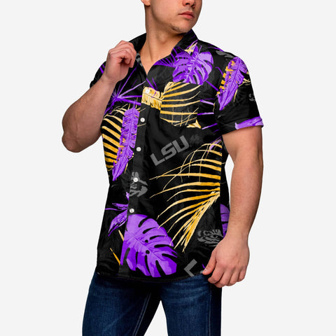 LSU Tigers Neon Palm Button Up Shirt