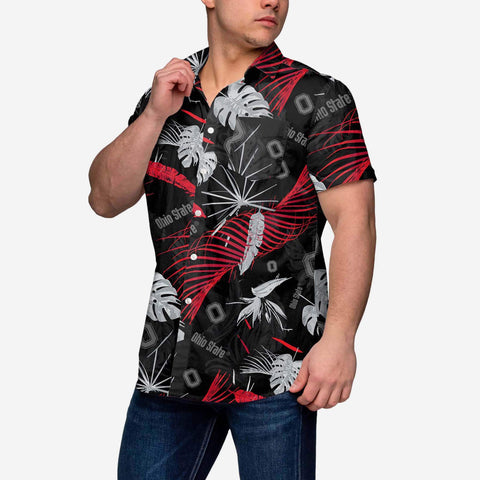 Ohio State Buckeyes Neon Palm Button Up Shirt