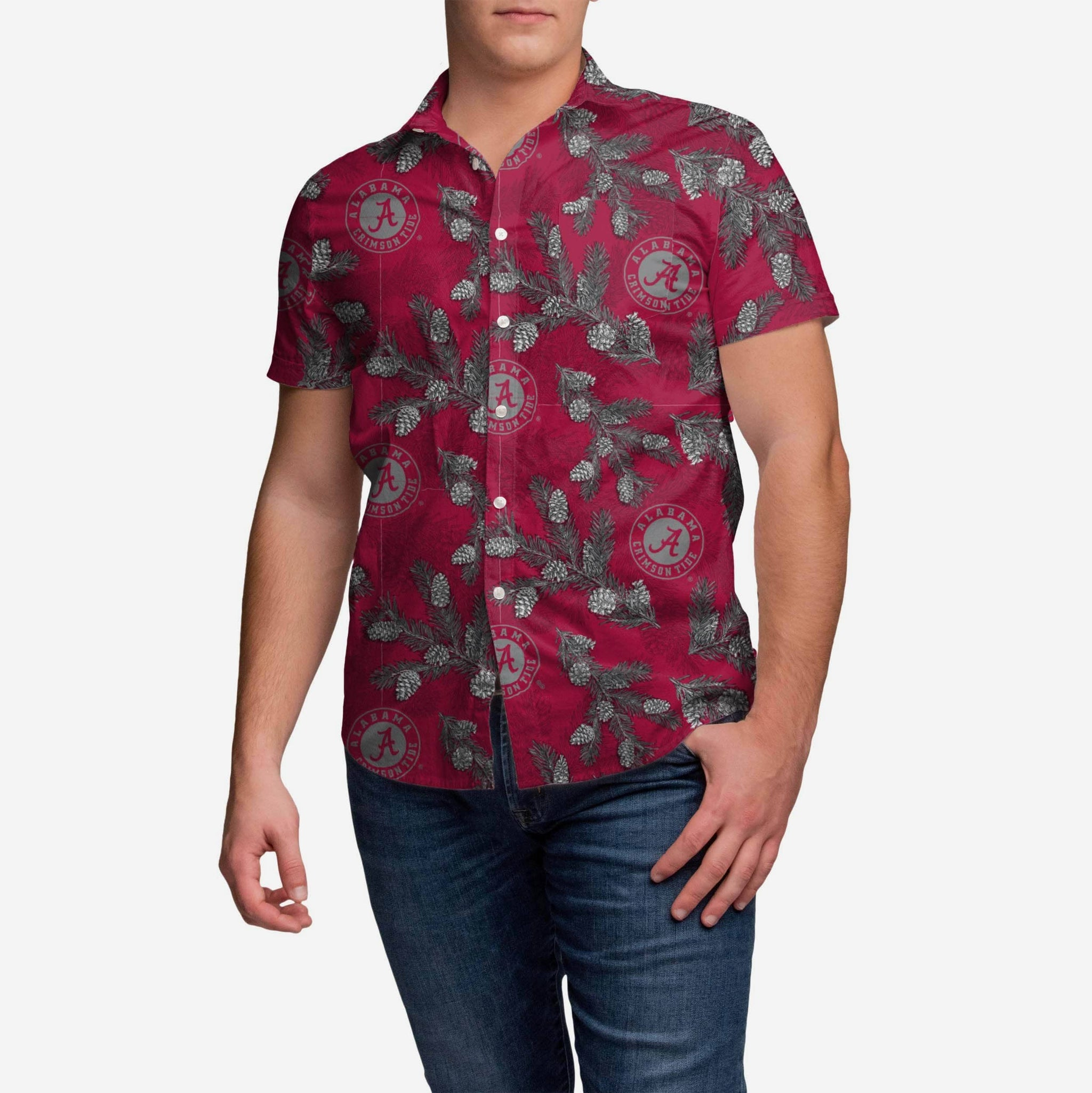 Alabama Crimson Tide Pinecone Button Up Shirt FOCO - FOCO.com