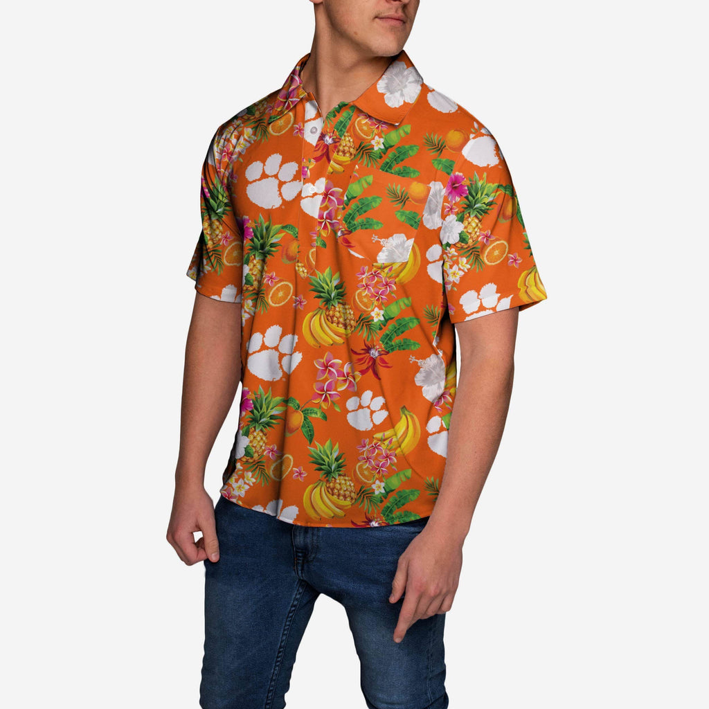 Clemson Tigers Fruit Flair Short Sleeve Polo Shirt FOCO - FOCO.com
