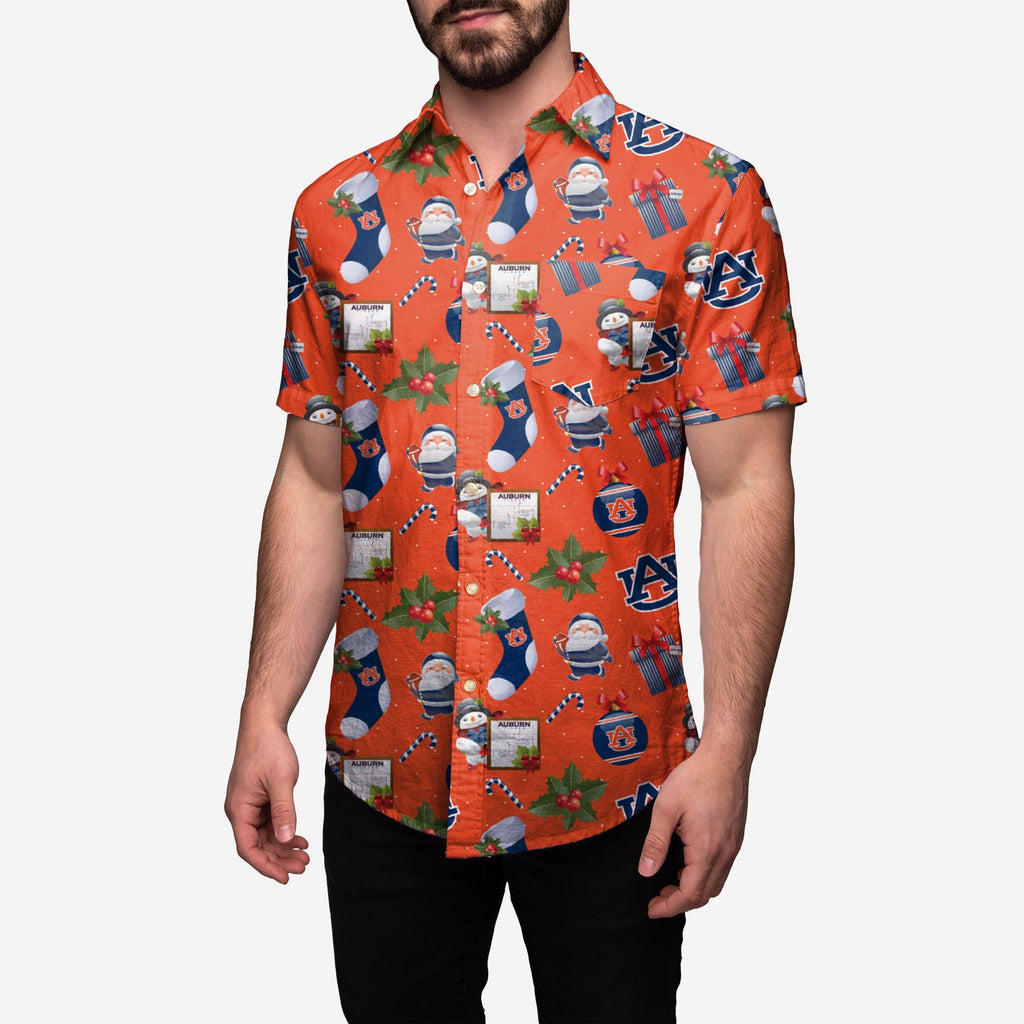 Auburn Tigers Christmas Explosion Button Up Shirt
