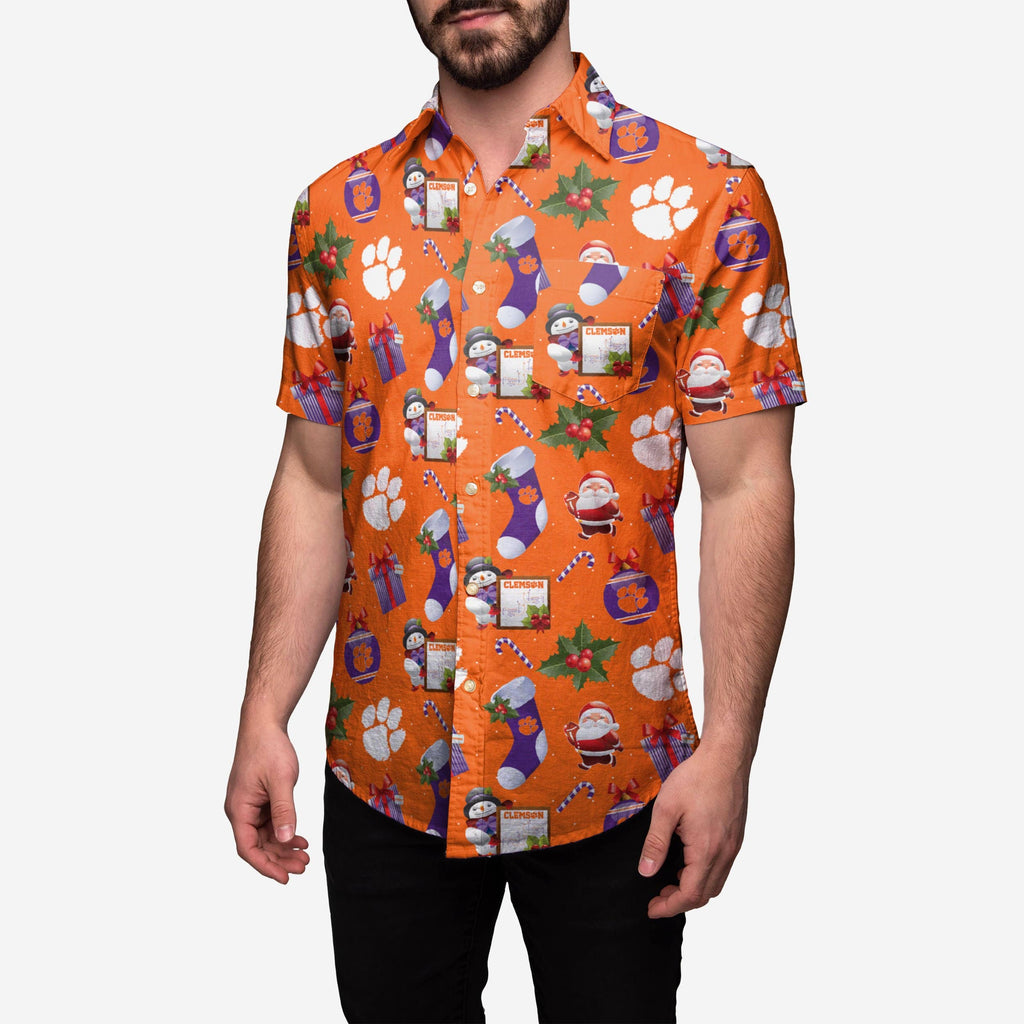 Clemson Tigers Christmas Explosion Button Up Shirt FOCO S - FOCO.com