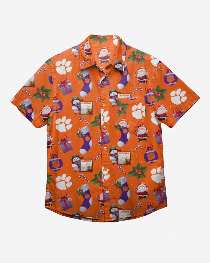Clemson Tigers Christmas Explosion Button Up Shirt FOCO - FOCO.com