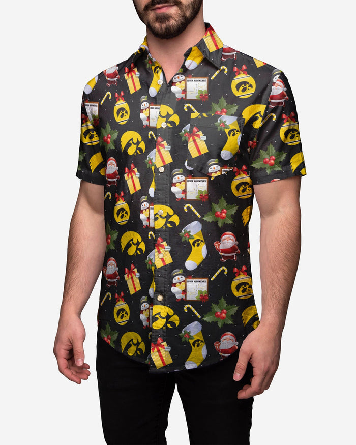 Iowa Hawkeyes Christmas Explosion Button Up Shirt FOCO 2XL - FOCO.com