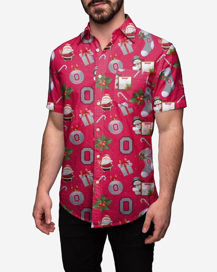 Ohio State Buckeyes Christmas Explosion Button Up Shirt FOCO S - FOCO.com