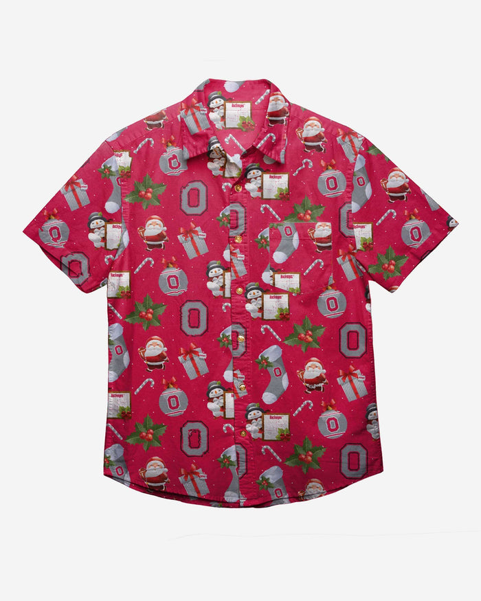 Ohio State Buckeyes Christmas Explosion Button Up Shirt FOCO - FOCO.com