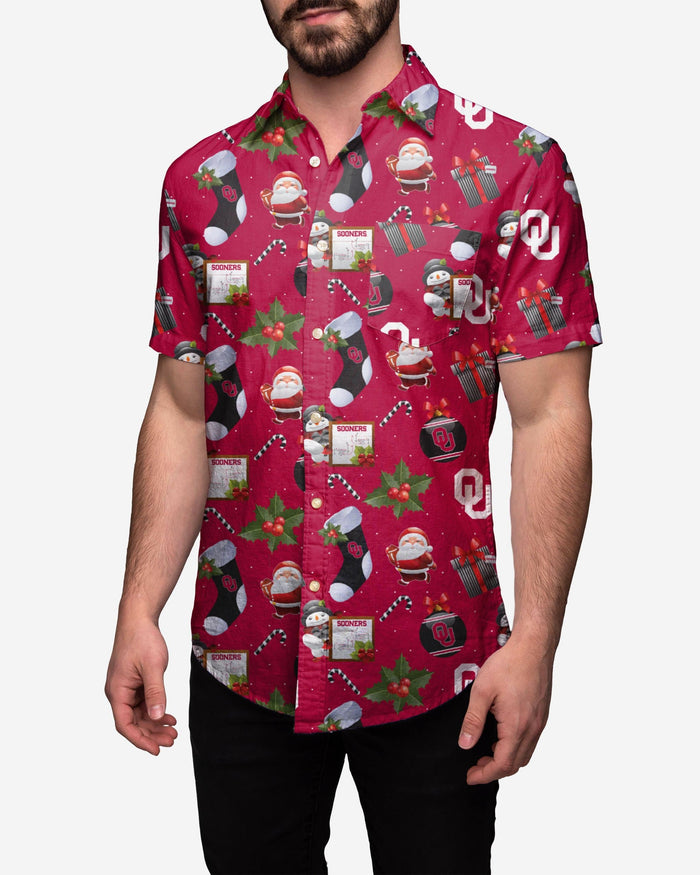 Oklahoma Sooners Christmas Explosion Button Up Shirt FOCO S - FOCO.com