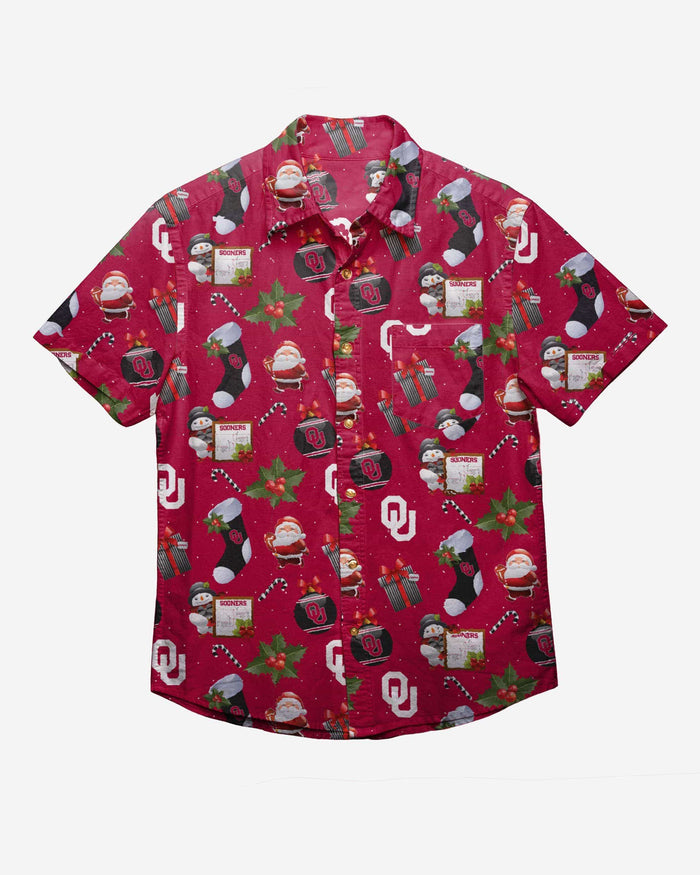 Oklahoma Sooners Christmas Explosion Button Up Shirt FOCO - FOCO.com