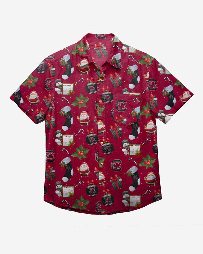 South Carolina Gamecocks Christmas Explosion Button Up Shirt FOCO - FOCO.com