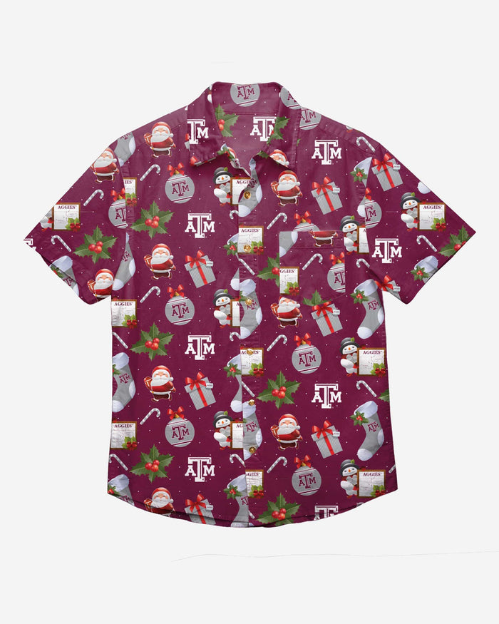 Texas A&M Aggies Christmas Explosion Button Up Shirt FOCO - FOCO.com