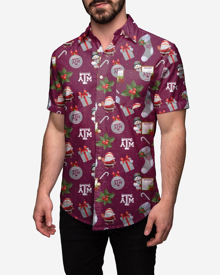 Texas A&M Aggies Christmas Explosion Button Up Shirt FOCO 2XL - FOCO.com