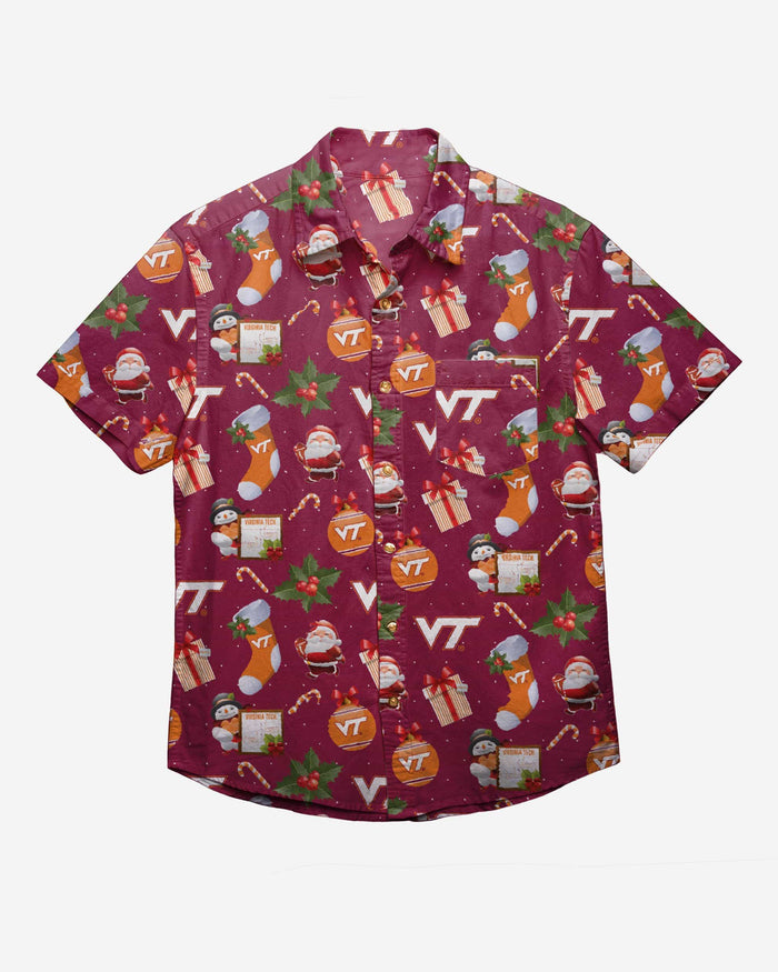 Virginia Tech Hokies Christmas Explosion Button Up Shirt FOCO - FOCO.com