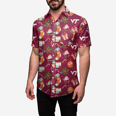 Virginia Tech Hokies Christmas Explosion Button Up Shirt