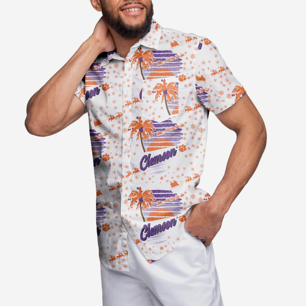 Clemson Tigers Winter Tropical Button Up Shirt FOCO S - FOCO.com