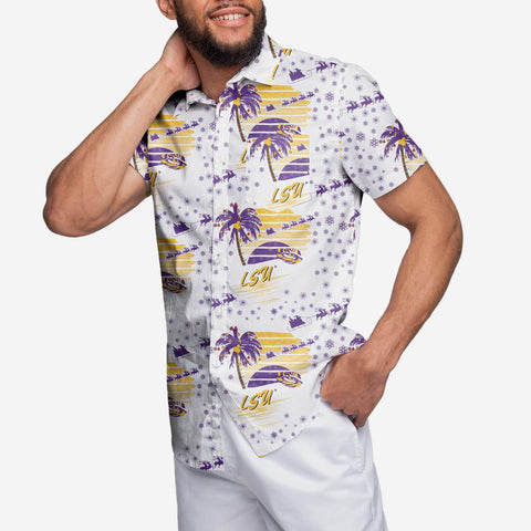 LSU Tigers Winter Tropical Button Up Shirt