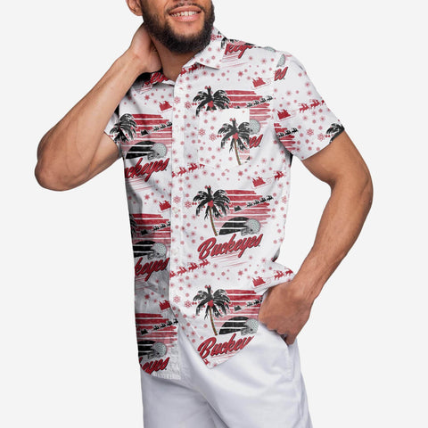 Ohio State Buckeyes Winter Tropical Button Up Shirt